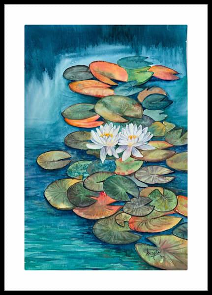 """""""Waterlilies"""" in watercolors by Aprajita Lal"""
