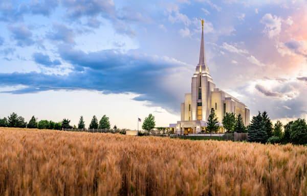 Rexburg Idaho Temple - Field Sunset