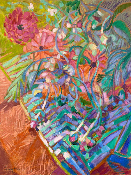 Colorful Abstract Floral Oil Painting by Dorothy Fagan
