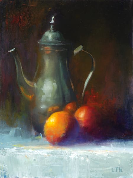 'Pewter and Fruit' oil painting by Ed Little, Bridgewater, CT