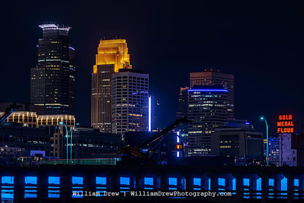 Minneapolis Skyline With A Teal 35 W Bridge For Pmdd Awareness   Garage Sale Photography Art | William Drew Photography