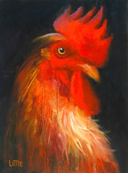 'Chicken7' print of original oil painting by Ed Little, Bridgewater, CT