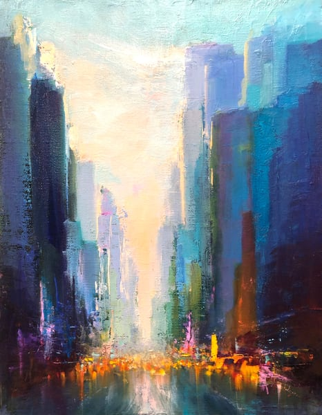 'City Mix3' print of original oil painting by Ed Little, Bridgewater, CT