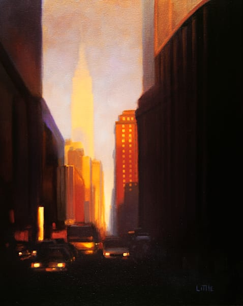 'Evening on 33rd' print of original oil painting by Ed Little, Bridgewater, CT
