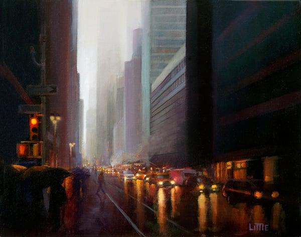 'Evening Rain Midtown' print of original oil painting by Ed Little, Bridgewater, CT