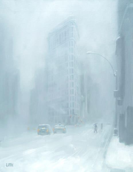 'Flat Iron Snow' print of original oil painting by Ed Little, Bridgewater, CT