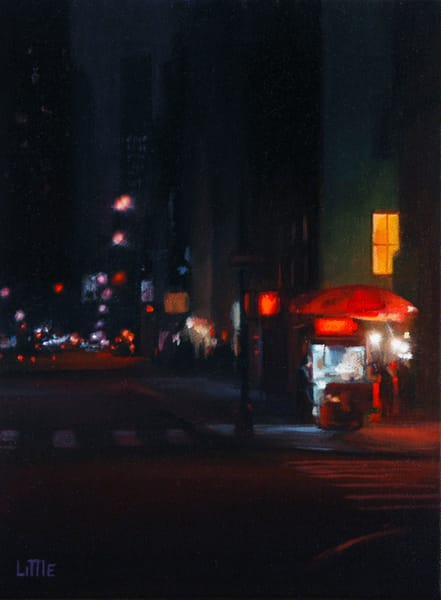 'Night Business' print of original oil painting by Ed Little, Bridgewater, CT