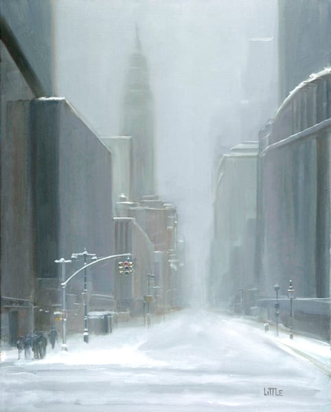 'Snow on 33rd' print of original oil painting by Ed Little, Bridgewater, CT