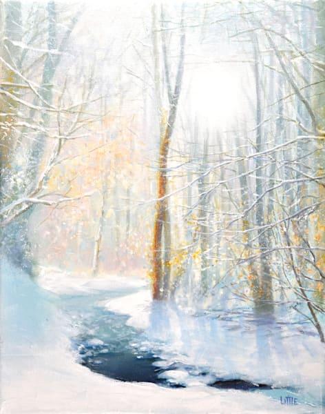 'Winter Light' print of original oil painting by Ed Little, Bridgewater, CT