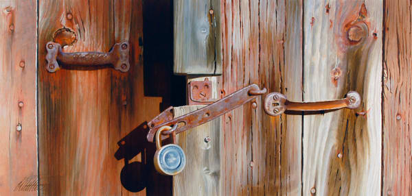 'Locks and Latches 2' print of original oil painting by Ed Little, Bridgewater, CT