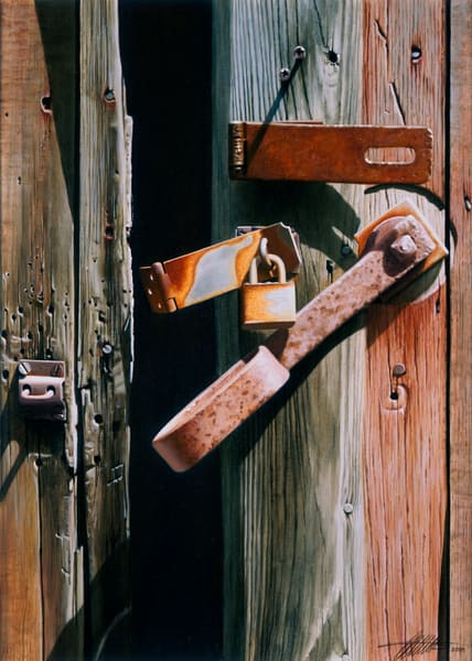 'Locks and Latches 1' print of original oil painting by Ed Little, Bridgewater, CT
