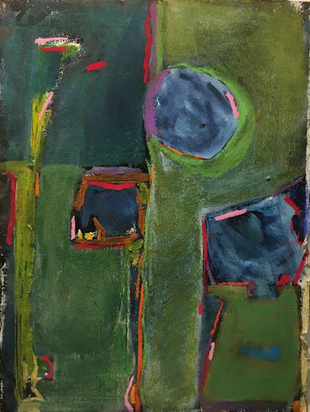 Drone Over My Backyard  Monotype+Pastel Art | Peter Anderson Studio