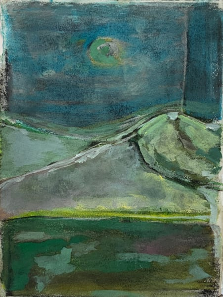 Blue Moon Over Beenoskee Mt , Dingle, Ireland   Monotype +Pastel +Oil Art | Peter Anderson Studio