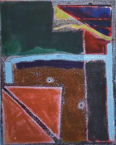 Old Pueblo Markings  # 2   Monotoype +Pastel   Art | Peter Anderson Studio