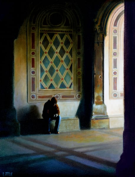 """'Bethesda Terrace Blues' Oil Painting 20 x 16"""" By Ed Little, Bridgewater, CT"""