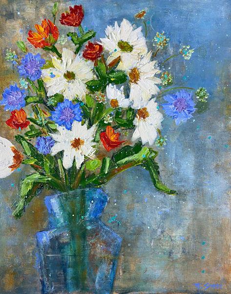 White And Blue Flowers Art   Marissa Sweet