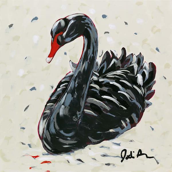 Original painting of a black swan.