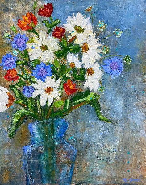 White And Blue Flowers (Print) Art | Marissa Sweet