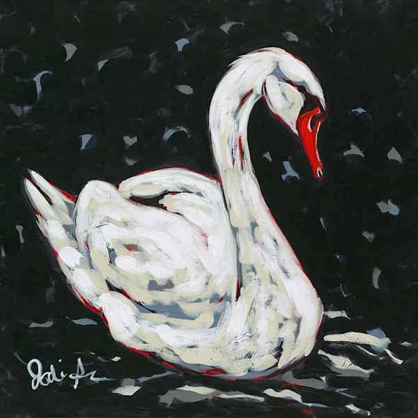 Original painting of a majestic white swan on a black background.
