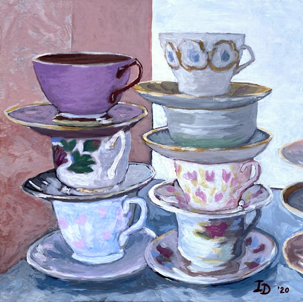 Still Life With Teacups Ii   Coasters, Set Of 4. Art | smalljoysstudio