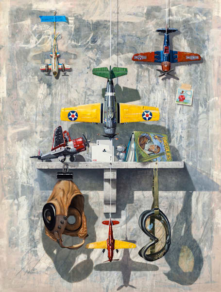 Sky High | toy airplanes | goggles | snoopy | Richard Hall Fine Art