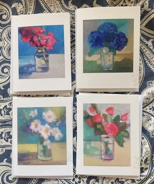 Notecard Package Of 4   Flower Power Assortment   Peg Connery-Boyd Artwork