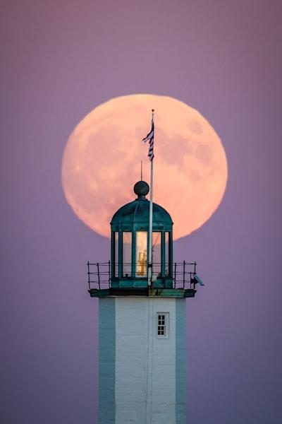 Scituate Light Moonrise   8850 3 Art | Kjeld Mahoney Photography