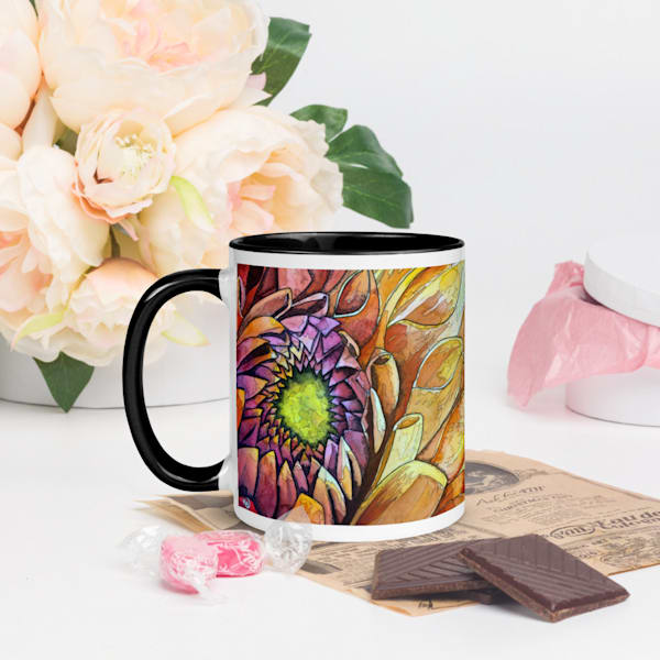 Golden Dahlia Coffee Mug | Water+Ink Studios