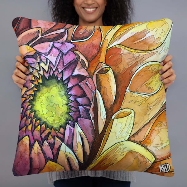 Golden Dahlia Pillow | Water+Ink Studios