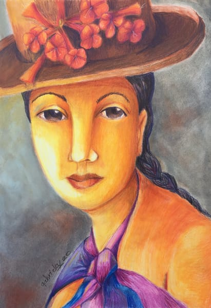Woman Wearing A Hat With Flowers Art | womanoftheandes