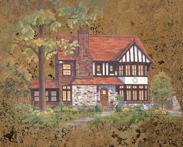 English Tudor On Leather Collage Art | Leisa Collins Art