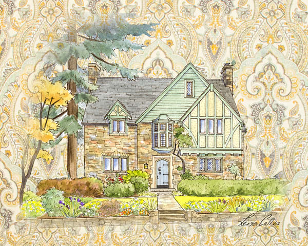Country Tudor Manor Collage Art | Leisa Collins Art