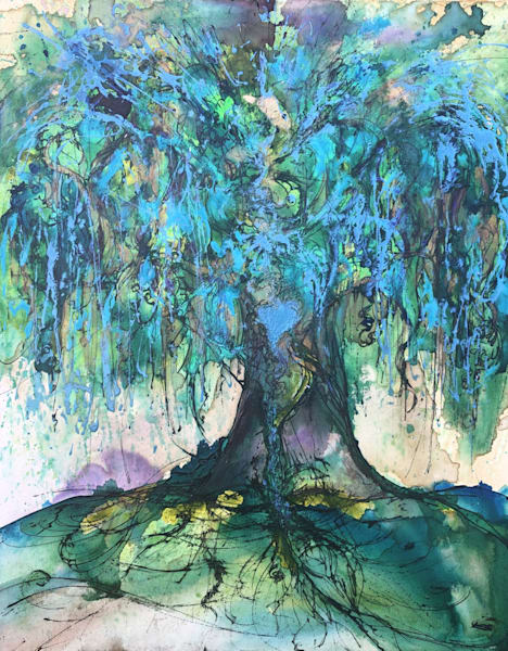 Cyan Blue Willow Tree Original Painting