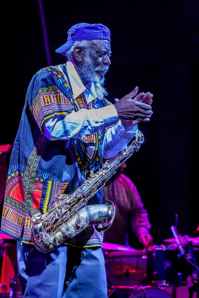Brooklyn, NY - 23 June 2017. The BRIC Celebrate Brooklyn! Festival summer concert series continued on this intermittently evening with a John Coltrane tribute by the Brooklyn Raga collective and tenor saxophonist Pharoah Sanders. Pharoah Sanders on