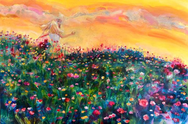High quality art print of a blonde girl running through a cosmos flower field by Monique Sarkessian.