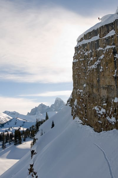 Jamie Pierre, 250 Foot Cliff Jump, Grand Targhee Backcountry, WY