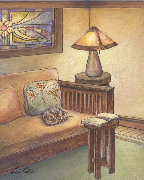 Craftsman Living Room With Cat Art | Leisa Collins Art