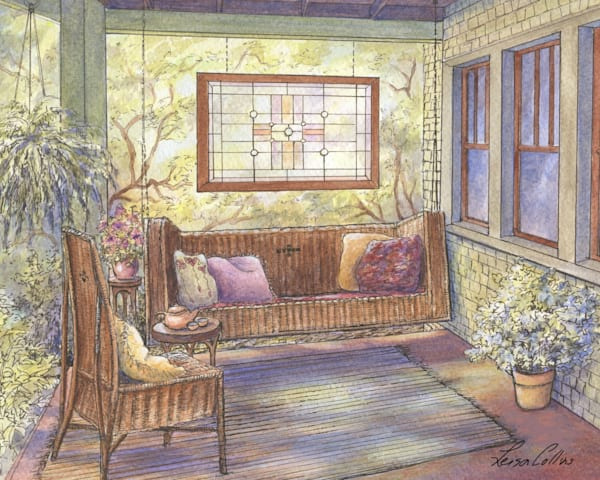 Tea Time On The Porch Art | Leisa Collins Art