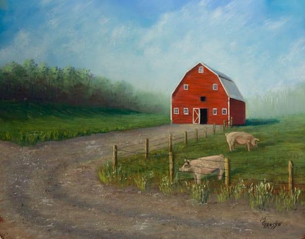 Red Barn With Pigs   Original Art | Mark Grasso Fine Art