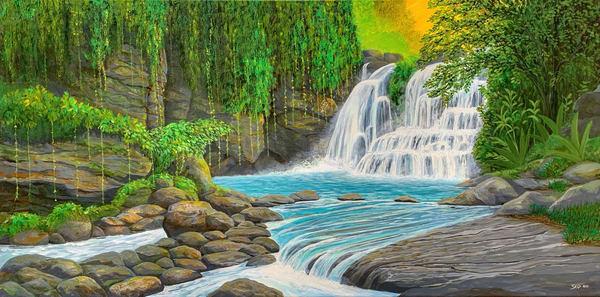 Vibrant Jungle Falls Art   Skip Marsh Art