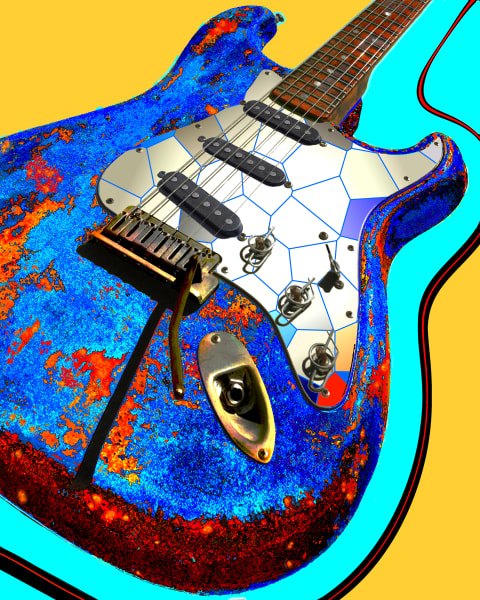 This piece is part of a corporate commission.  It is a heavily modified photo of one of a guitar that has been printed on canvas, cut into hundreds of pieces, glued to a steel and plywood foundation and coated in clear resin.  Dimensions: 96 x 112 x