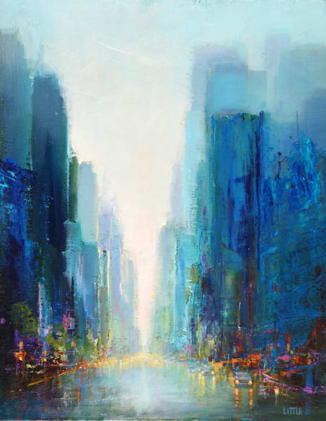 'City Mix1' original oil painting by E Little, Bridgewater, CT