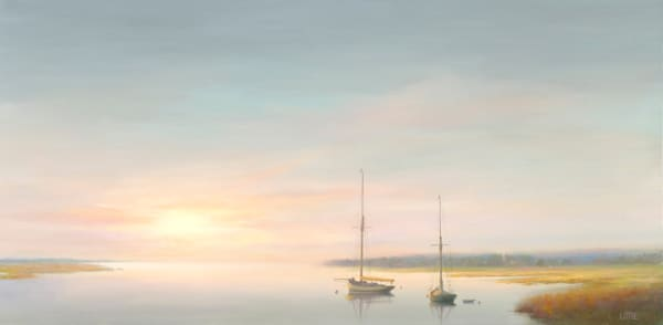 Oil Painting by Ed Little of sailboats at anchor. For Sale