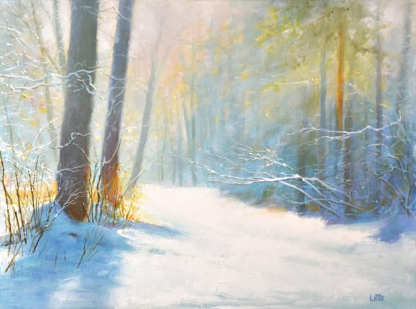 'Winter Walk' oil painting by Ed Little, Bridgewater, CT