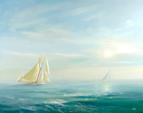 Seascape Yacht Painting by Ed Little, Bridgewater CT