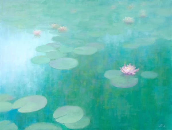Impressionist Oil Painting of water lillies by Ed Little