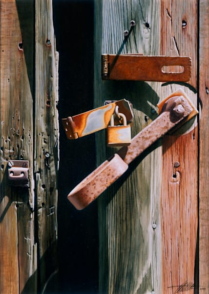 'Locks and Latches 1' oil painting by Ed Little, Bridgewater, CT