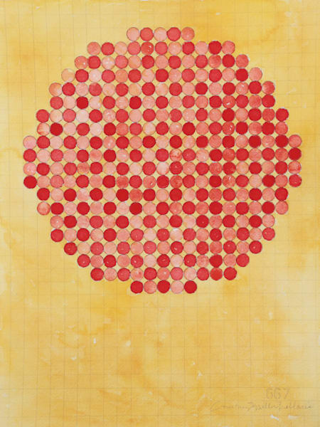 Circle Circle, Red Grid Art | Courtney Miller Bellairs Artist