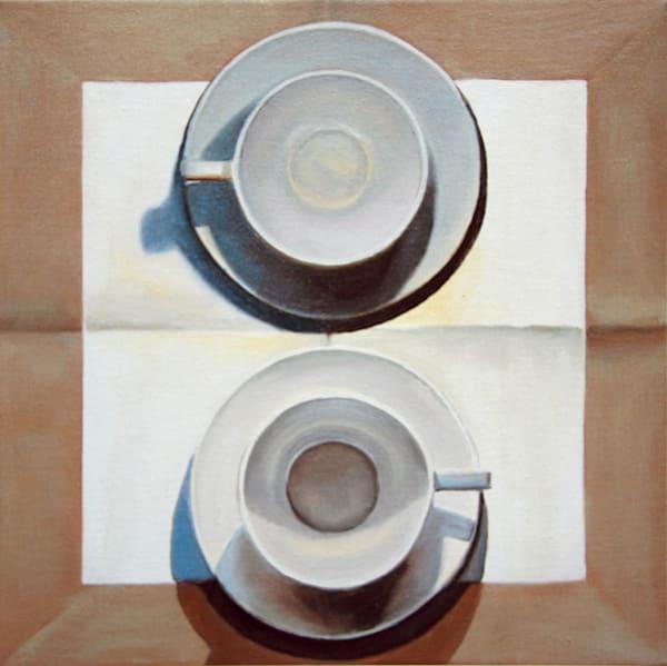 2 Large Cups On Linen Art | Courtney Miller Bellairs Artist