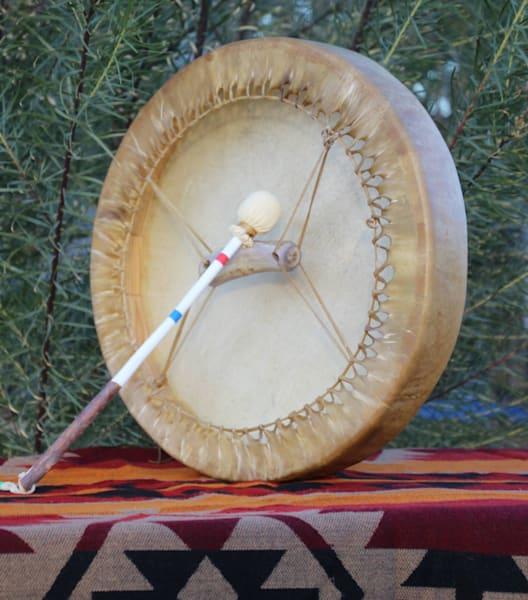 """Native American deer raw hide drum 12"""""""